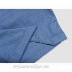 Men's Linen Casual Classic Short Elastic Waist Summer Beach Lightweight Board Slim-Fit with Pockets