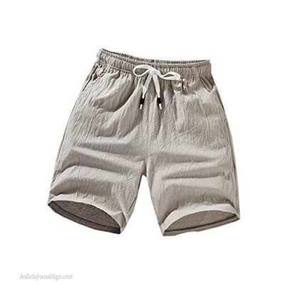 Yeokou Mens Solid Mid Waist Drawstring Loose Fit Casual Cotton Linen Beach Shorts