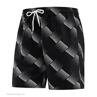 HOTSKON Men's Swim Trunks Quick Dry Beach Shorts with Mesh Lining Swimwear Bathing Suits
