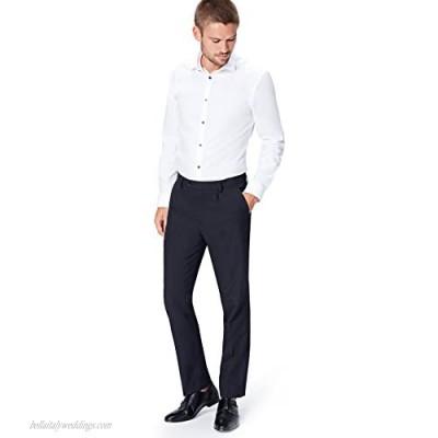 find. Men's Regular Fit Pleated Formal Pant Blue (Navy) W36/L33