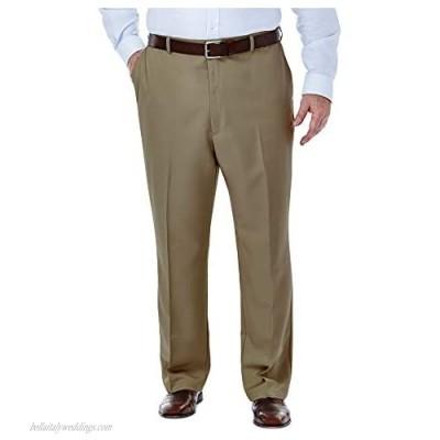 Haggar Men's Big & Tall Cool Gabardine Expandable-Waist Plain-Front Pant Taupe 56x32