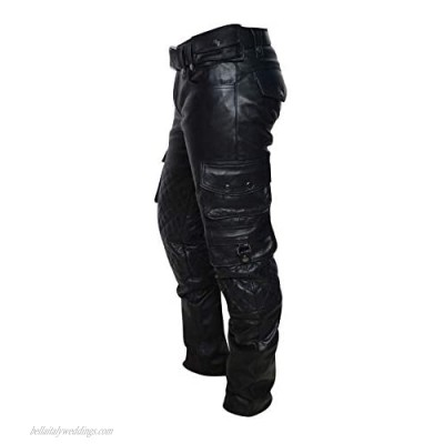 III-Fashions Mens Biker Trousers Genuine Leather Quilted Cargo Multi Pockets Black Motorcycle Pants
