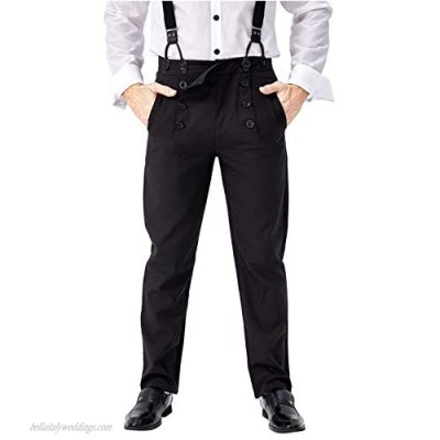 Mens Medieval Steampunk Pants Classic Victorian High Waist Fall Front Trousers
