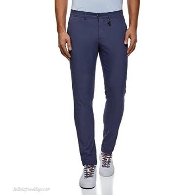 oodji Ultra Men's Straight Leg Cotton Trousers Blue US 33 / EU 44 / L