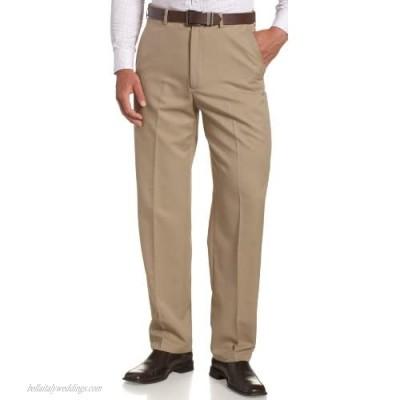 Haggar mens Haggar Men's Cool 18 Classic Fit Hidden Expandable Waist Pant  British Khaki 34x32