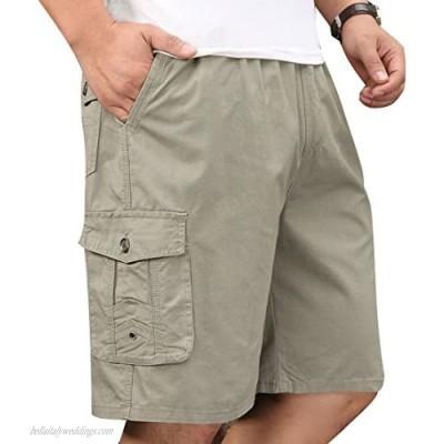 Men's Cotton Full Elastic Waist Cargo Performance Baseline Shorts