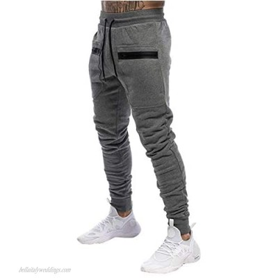 Annystore Fashion Mens Sweatpants Athletic Gym Workout Joggers Pants Tapered Trousers with Pockets