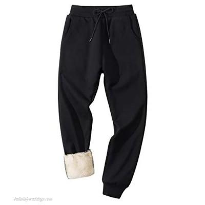 Flygo Men's Sherpa Lined Athletic Sweatpants Winter Warm Fleece Track Pants