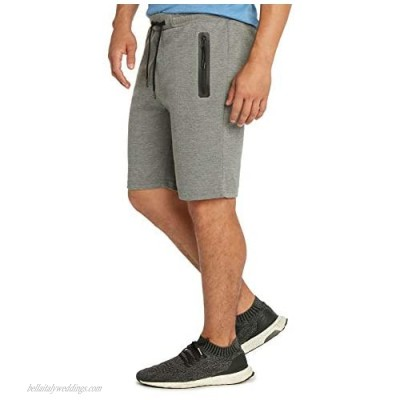 9 Crowns Men's Lightweight Athletic Shorts with Seam Sealed Zipper Pockets