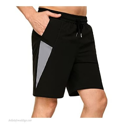 Aiboria Men's Quick Dry Athletic Gym Shorts Elastic Waist Lightweight Workout Running Shorts with Pockets Black