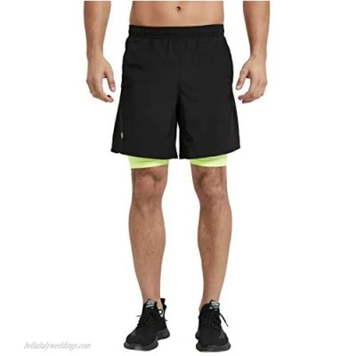 CQC Men's 2 in 1 Running Shorts Quick Drying Lightweight Active Training Exercise Jogging Cycling Shorts