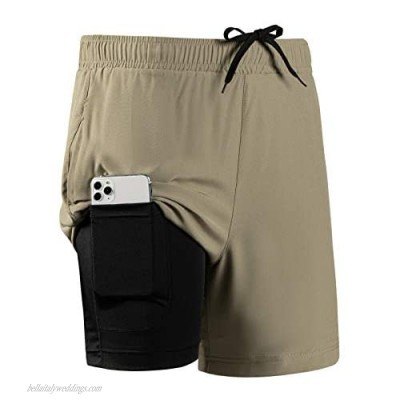 HomyComy Men's 2 in 1 Workout Running Shorts Quick Dry Lightweight Gym Shorts Athletic Shorts for Men with Zipper Pockets