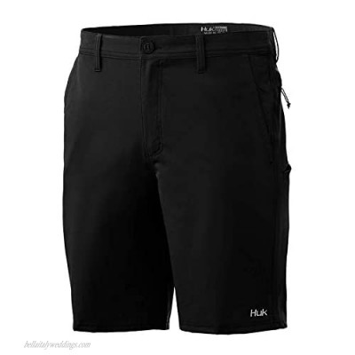 """Huk Men's Reserve 20"""" Quick-Drying Performance Fishing Shorts with UPF 30+ Sun Protection Black"""
