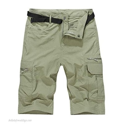 Men's Outdoor Hiking Shorts with Belt Lightweight Quick Dry Stretch Cargo Shorts Travel Fishing Golf Tactical Shorts