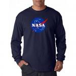City Merchandise econoShirts NASA Meatball Logo Long Sleeve Shirt Space Shuttle Rocket Science Geek Tee (Navy Medium)
