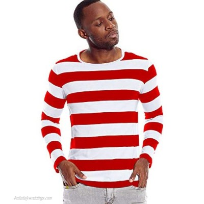 Mens Striped Shirt Wide Stripes Long Sleeve Crew Neck Tees Tops Casual