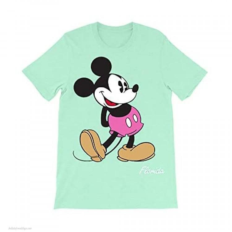Unisex Pastel Mint Green Disney Mickey Mouse T-Shirt (Medium)