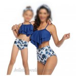Cotrio Mommy and Me Swimsuits Bikini Set Family Matching Mother Daughter Father Son Swim Trunk Bathing Suit