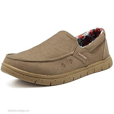 FANTURE Men Loafer Slip On Sneakers Casual Comfort Lightweight Travel Stretch Canvas Shoes