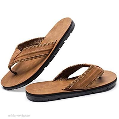 MEMON Men's Leather Thong Sandals Flip Flops Comfort Non-Slip Black/Brown Slippers for Outdoor Pool/Beach Size 7-13