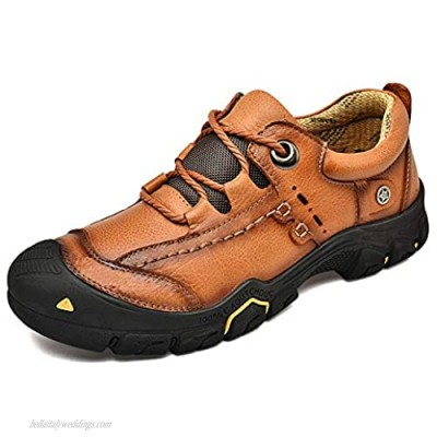 Cmaocv Men's Outdoor Walking Leather Hiking Shoes Sports Casual Dress Work Breathable Trekking Sneakers