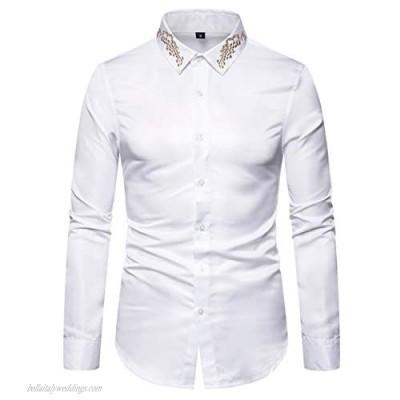 AOWOFS Men's Dress Print Shirt Fashion Button Down Long Sleeve Slim Fit Shirts
