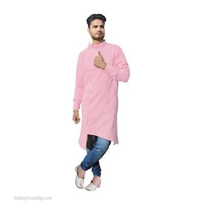 Indian Men's Cotton Kurta Trail Cut Shirt Tunic Ethnic Wedding Wear Kurta Peach Color Plus Size