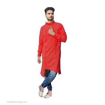 Indian Men's Cotton Shirt Kurta Trail Cut Casual Tunic Kurta Purple Color Plus Size