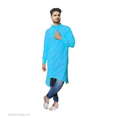 Indian Men's Sky Blue Shirt Trail Cut Kurta Casual Tunic Wedding Wear Kurta Plus Size