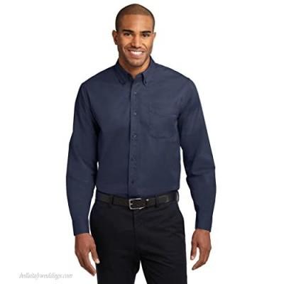 Joe's USA Mens 2X-Large Tall Long Sleeve Easy Care Shirt-ClassNavy/Light