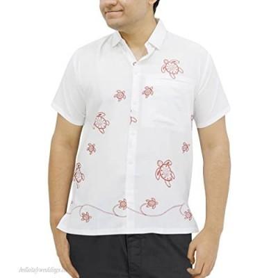 LA LEELA Men's Designer Beach Short Sleeve Casual Hawaiian Shirt A
