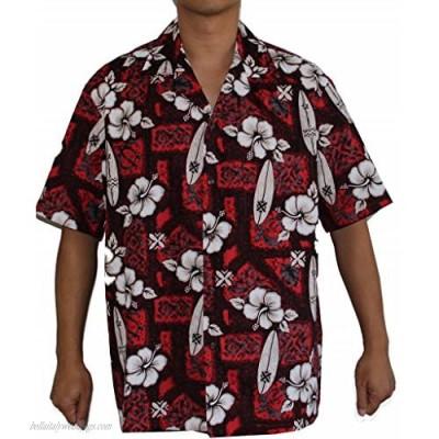 Made in Hawaii ! Men's Surfboard Hibiscus Hawaiian Aloha Shirt