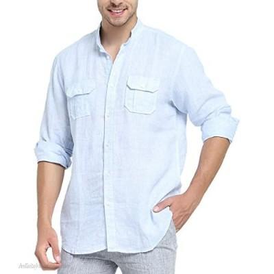 Najia Symbol Men's 100% Linen Mandarin Collar Long Sleeve Pocket Shirt