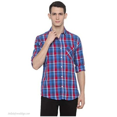nick&jess Flannel Checkered Cotton Extra Slim Fit Shirt for Men