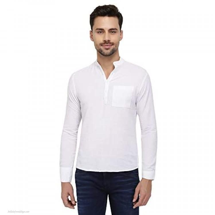 nick&jess Mens White Linen Mandarin Slim Fit Kurta Shirt
