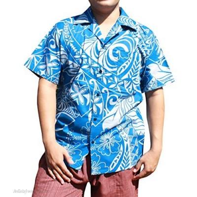 RaanPahMuang 100% Cotton Men Hawaiian Shirt Short Sleeve Button Down Shirt Print | Light Soft and Comfy