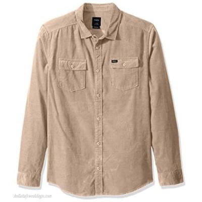 RVCA Men's Freeman Cord Long Sleeve Woven Button Front Shirt