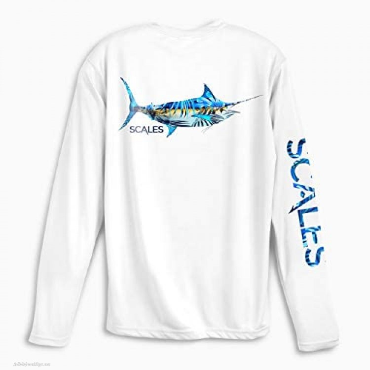 Scales Men's Tropical Marlin PRO Performance Shirt in White