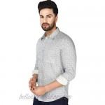 SKAVIJ Men's Slim Fit Long Sleeve Cotton Paisley Print Casual Button Down Dress Shirt