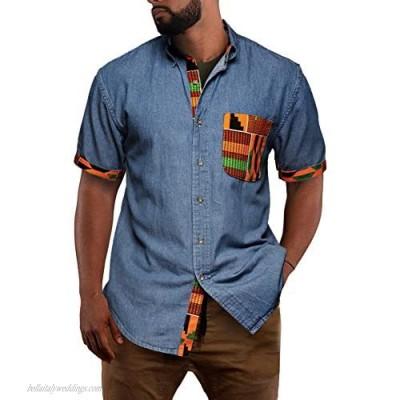 Taoliyuan Mens African Shirt Dashiki Short Sleeve Button Down Casual Patchwork Aloha Cotton Tops