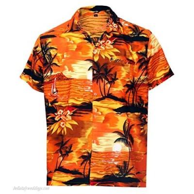 Virgin Crafts Hawaiian Shirt for Men Aloha Beach Orange M