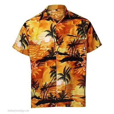 Virgin Crafts Hawaiian Shirt for Men Aloha Beach Yellow XS