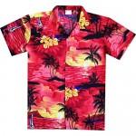 Virgin Crafts Men's Hawaiian Shirt Coconut Tree Print Aloha Vacation Shirts Red 5X-Large