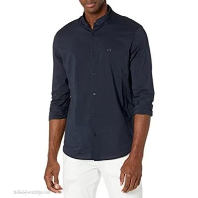AX Armani Exchange Men's Back Burnout Logo Collarless Button Up Shirt