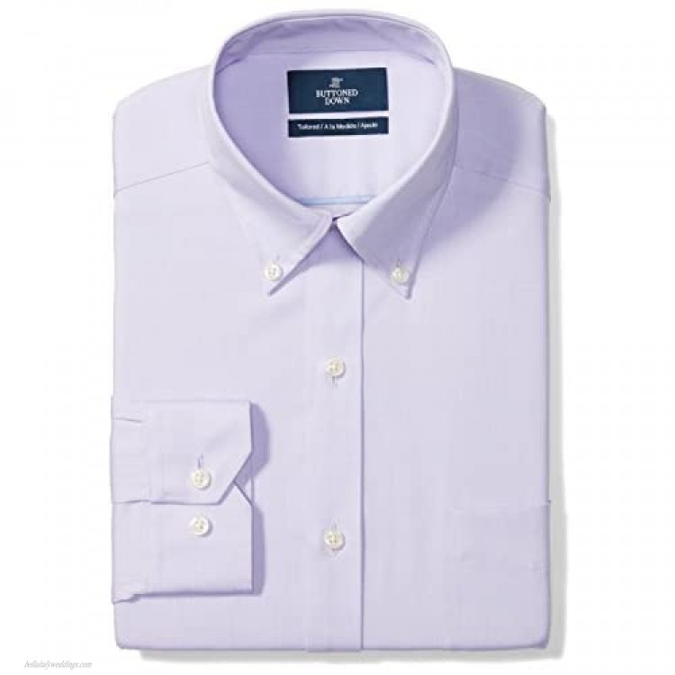 Buttoned Down Men's Tailored-fit Button-Collar Pinpoint Non-Iron Dress Shirt with Pocket