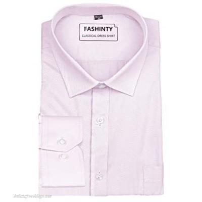 FASHINTY Men's Classical Oblique Stripe Long Sleeve Dress Shirt SE