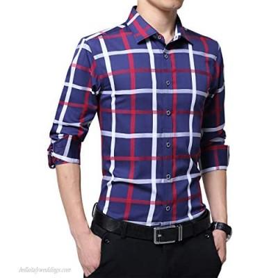 FRTCV Mens Plaid Button Down Shirts Long Sleevee Dress Shirts 5637 Dark Blue Tag 3XL/US M