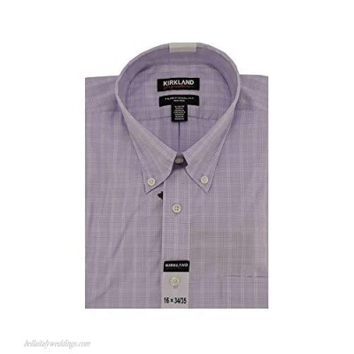Kirkland Signature Non-Iron Long-Sleeves Traditional Fit Dress Shirt in Purple Plaid 16 x 34/35
