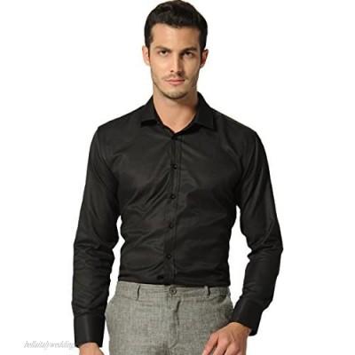 SSLR Men's Solid Regular Fit Button Down Long Sleeve Dress Shirt