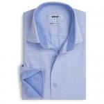 Xoos Paris - Men Fitted Jacquard Shirt Long Sleeves Italian Collar - Diamond Shapes Light Blue